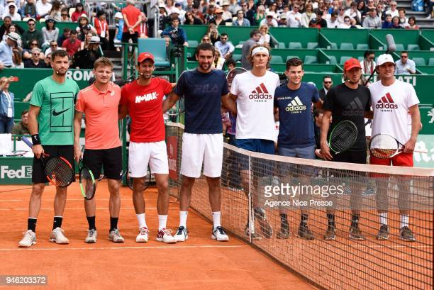 Exhibition with David Goffin Novak Djokovic and Gregor Dimitrov Marin Cilic Dominic Thiem Alexander and Mischa Zverev and Lucas Pouille during the...