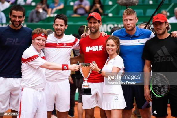 Exhibition with Marin Cilic Lucas Pouille Novak Djokovic Geri Hallliwell member of the former Spice Girl Freddie Flintoof ex England cricket captain...