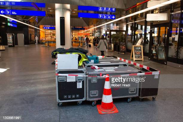 Exhibitions are being packed after cancellation of the Geneva Auto Show on February 28 2020 in Geneva Switzerland Swiss authorities announced today...