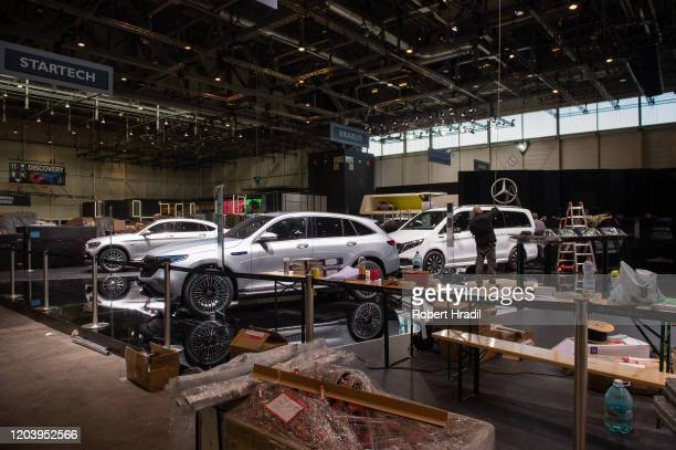 Exhibitions are being packed after cancellation of the Geneva Auto Show on February 28, 2020 in Geneva, Switzerland. Swiss authorities announced...