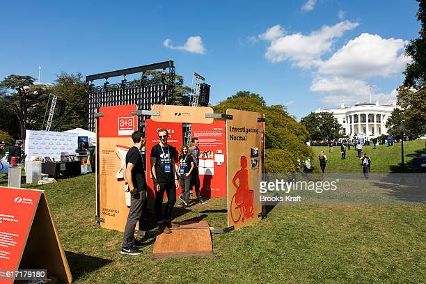 Exhibitors at the 'South By South Lawn' SXSL festival on October 3 2016 in Washington DC The White House Festival is billed to celebrate ideas art...
