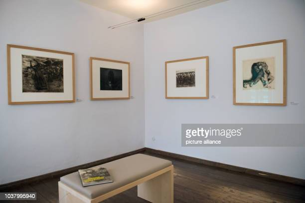 Exhibits belonging to the permanent collection of the Kaethe Kollwitz House in Moritzburg Germany 3 May 2017 The museum is hosting an exhibition...
