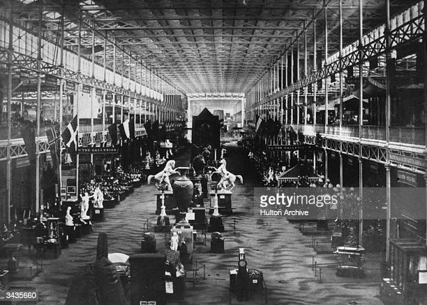 Exhibits in the eastern nave of the 1851 Great Exhibition at Crystal Palace London