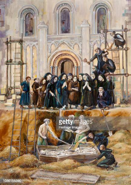 Exhumation of Arthur and Guinivere at Glastonbury Abbey Somerset 1193 Artist Judith Dobie
