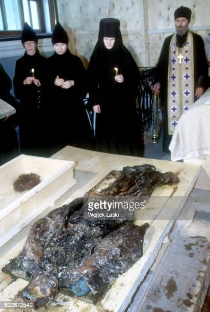 Exhumation of the remains of the Imperial Romanov family in a crypt at Saints Peter and Paul Cathedral Saint Petersburg Russia on 12th July 1994