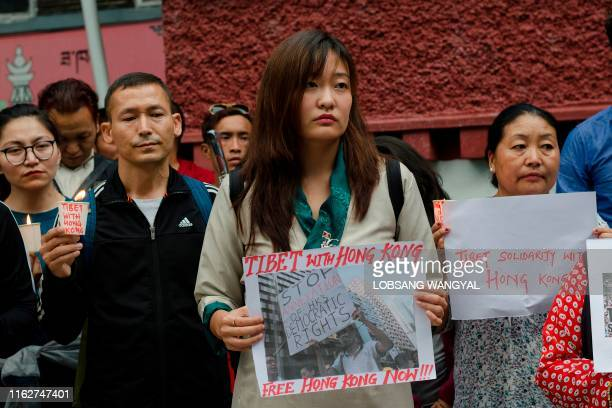 Exile Tibetans march in a candlelight vigil to stand in solidarity with the protesters in Hong Kong in McLeod Ganj on August 19 2019