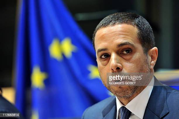 Exiled crown Prince of Libya Mohammed ElSenussi speaks during a hearing on April 20 2011 at the European Parliament headquarters in Brussels during...