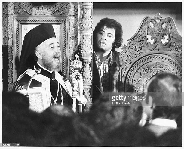 Exiled President of Cyprus, Archbishop Makarios III, addresses his followers from the pulpit at the All Saints Church in Camden Street, London, 1974