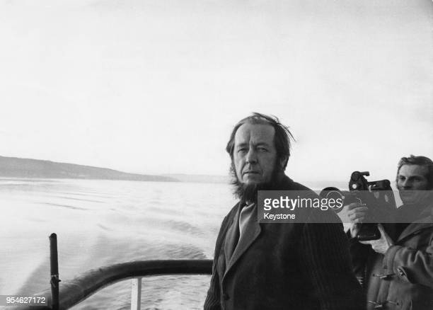Exiled Russian author Aleksandr Solzhenitsyn travels to Oslo in Norway by boat 25th February 1974