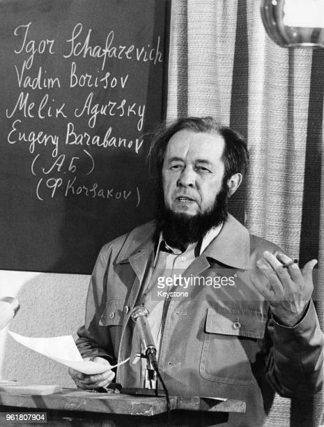 Exiled Russian writer Aleksandr Solzhenitsyn holds a press conference at his home in Zurich Switzerland to announce a new collection of essays on the...