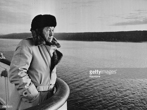 Exiled Russian writer and Nobel prize winner Alexander Solzhenitsyn admiring the Norwegian coastline after a visit to Denmark