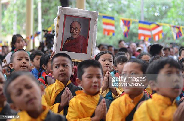 Exiled Tibetan children sing in celebration of the Dalai Lama's 80th birthday at Tsuglakhang temple in McLeod Ganj on July 6 2015 Thousands of...