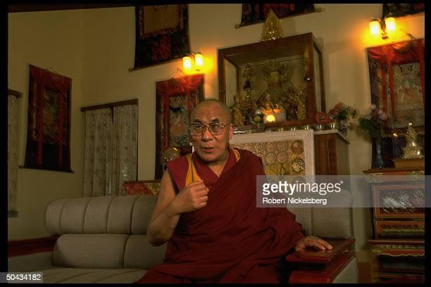 Exiled Tibetan spiritual ldr. Dalai Lama during TIME interview in Dharamsala, India.