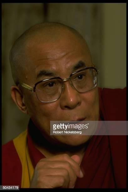 Exiled Tibetan spiritual leader Dalai Lama during TIME interview.