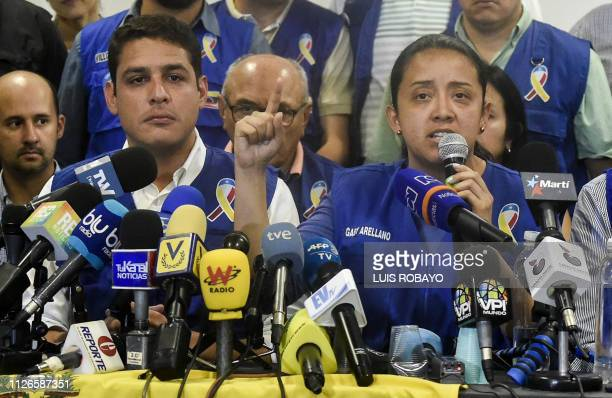 Exiled Venezuelan opposition deputy Gaby Arellano speaks to journalists during a press conference on February 21 in Cucuta Colombia border with...