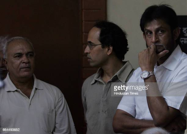 ExIndia cricketer Kenia Jayantilal television presenter Harsha Bhogle and former international Sandeep Patil at Dilip Sardesai's cremation at the...