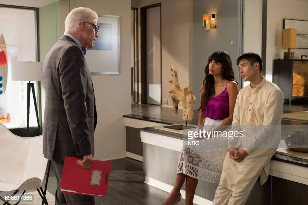 PLACE 'Existential Crisis' Episode 205 Pictured Ted Danson as Michael Jameela Jamil as Tehani Manny Jacinto as Jianyu
