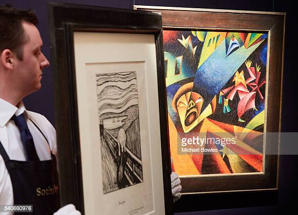Existentialist masterworks by Edvard Munch and Georg Sholz unveiled at Sotheby's on June 16 2016 in London England Edvard Munch's monumental and rare...