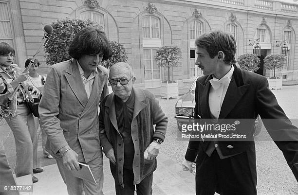 Existentialist writer Jean-Paul Sartre and French philosopher Andre Glucksmann attend a government conference at the Palais de l'Elysee. Sartre was a...