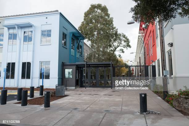 Exit gate and colorful buildings at the headquarters of social network company Facebook in Silicon Valley Menlo Park California November 10 2017