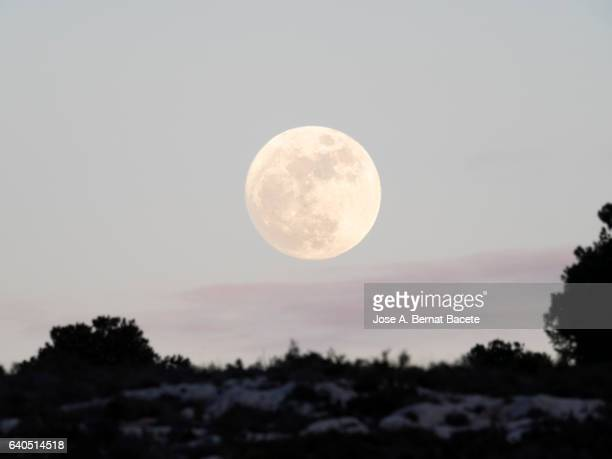 exit of the full moon over the silhouette of a mountain with a sky with clouds of purple color - hill stock pictures, royalty-free photos & images