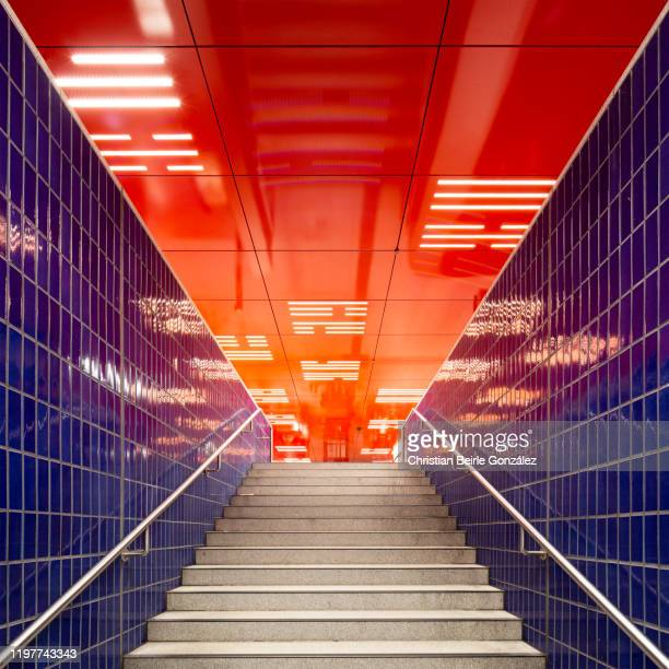 exit of the s-bahn station marienplatz leading to the barrier floor, munich, germany - christian beirle stock pictures, royalty-free photos & images