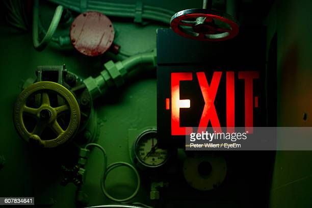 Exit Sign By Valves In Industry