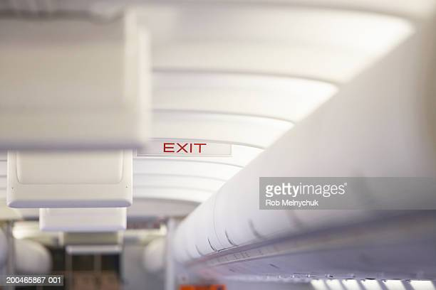 'Exit' sign in airplane
