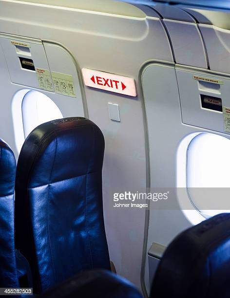 Exit sign in airplane
