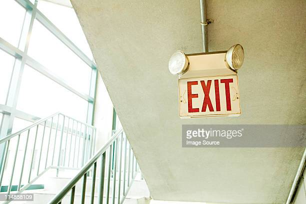 exit sign in car park - exit sign stock pictures, royalty-free photos & images