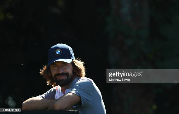 Ex-Italian footballer Andrea Pirlo looks on during a Pro-Am ahead of the Italian Open at Olgiata Golf Club on October 09, 2019 in Rome, Italy.