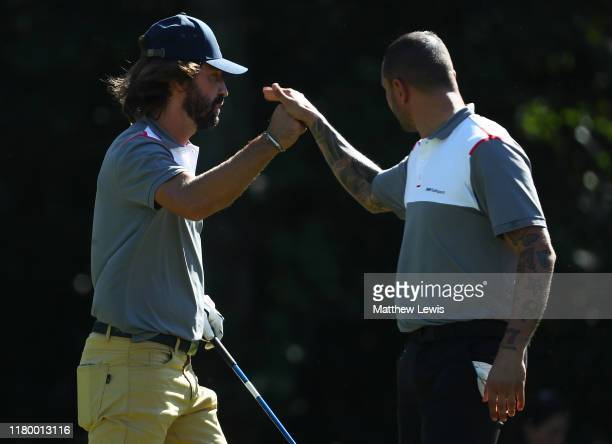 ExItalian footballer's Simone Pepe and Andrea Pirlo in action during a ProAm ahead of the Italian Open at Olgiata Golf Club on October 09 2019 in...