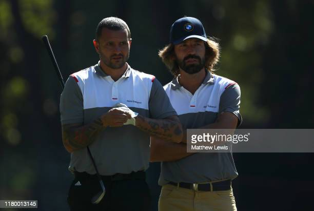 ExItalian footballer's Simone Pepe and Andrea Pirlo look on during a ProAm ahead of the Italian Open at Olgiata Golf Club on October 09 2019 in Rome...