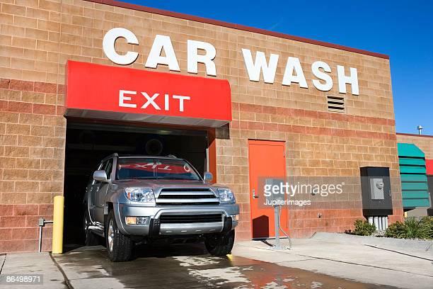 SUV exiting car wash