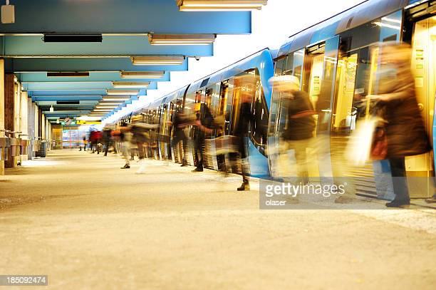 exiting subway train - underground stock photos and pictures