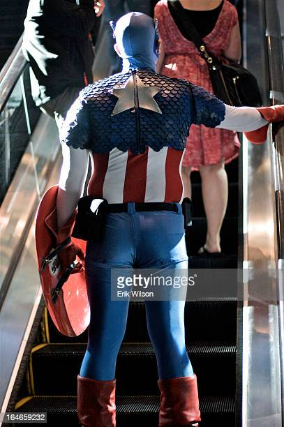CONTENT] Exiting the Moscone Center at the end of a day of WonderCon Captain America rides the escalator up to the street