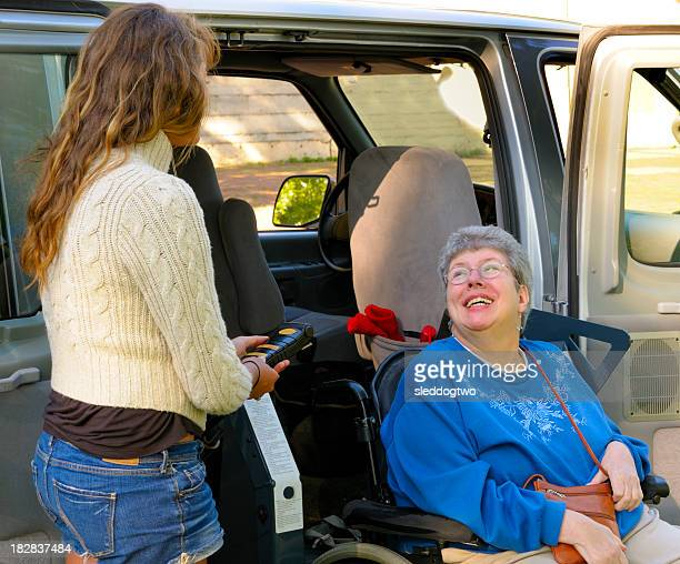 exiting the van - multiple sclerosis stock photos and pictures