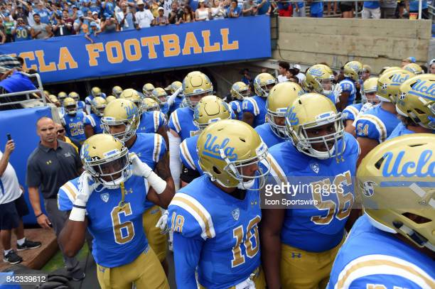 UCLA exits the tunnel and takes the field during a college football game between the Texas AM Aggies and the UCLA Bruins on September 03 2017 at the...