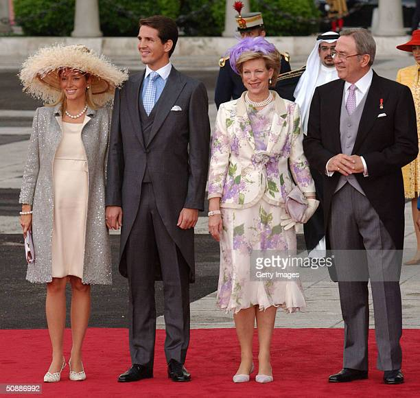 Exking Constantin of Greece and Queen AnneMarie arrive with their son Paul and his wife Marie Chantal to attend the wedding between Spanish Crown...
