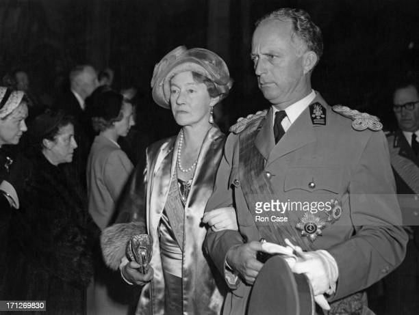 Ex-King Leopold III of Belgium accompanies Charlotte, Grand Duchess of Luxembourg at the wedding of Prince Jean of Luxembourg and Princess Josephine...