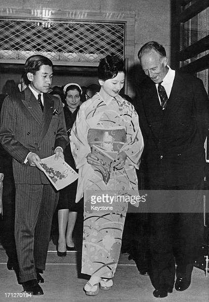 Ex-King Leopold III of Belgium arrives at the Kabuki Theatre accompanied by Crown Prince Akihito and Princess Michiko, Tokyo, Japan, 16th March 1961.
