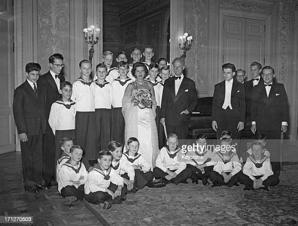 Ex-King Leopold III of Belgium celebrates his 54th birthday with Princess Lilian of Belgium and members of their family with a concert given by the...