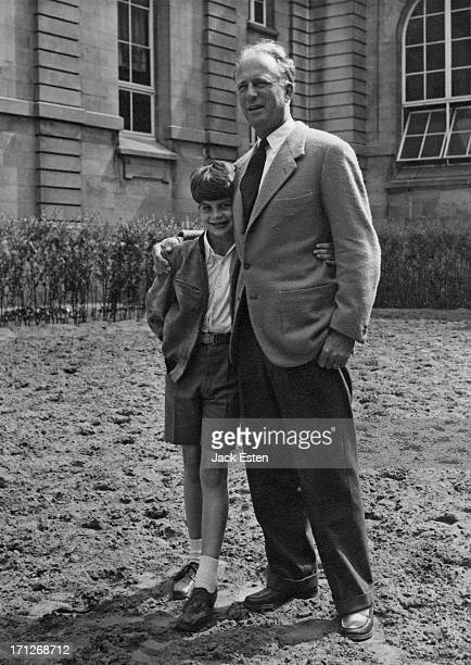 ExKing Leopold III of Belgium poses for a photograph with his youngest son Prince Alexander of Belgium at the Royal Palace of Laeken Brussels circa...