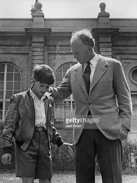 Ex-King Leopold III of Belgium poses for a photograph with his youngest son, Prince Alexander of Belgium , at the Royal Palace of Laeken, Brussels,...