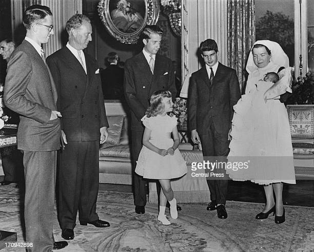 ExKing Leopold of Belgium sees his two day old daughter Princess MarieEsmeralda of Belgium at the Royal Castle Laeken 2nd October 1956 LR King...