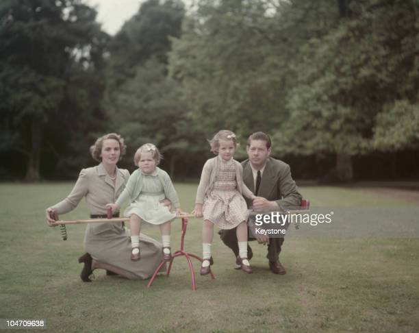ExKing Michael of Romania in the garden of his home Ayot House in Hertfordshire with his wife Princess Anne of BourbonParma and their daughters...