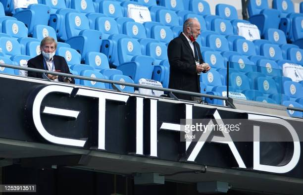 ExLiverpool player Kenny Dalglish is seen in the stands prior to the Premier League match between Manchester City and Liverpool FC at Etihad Stadium...
