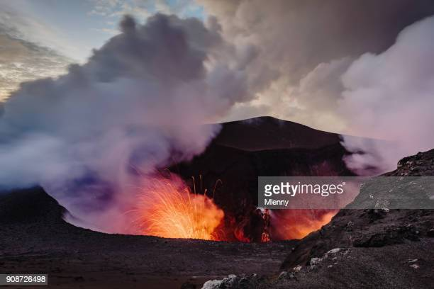 exloding volcano tanna island erupting mount yasur vanuatu - volcano stock photos and pictures