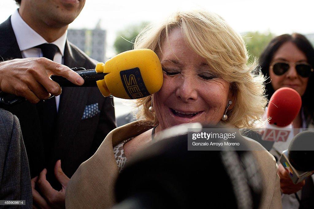 Ex-Madrid Regional Government President, Esperanza Aguirre In Court For Traffic Incident : News Photo