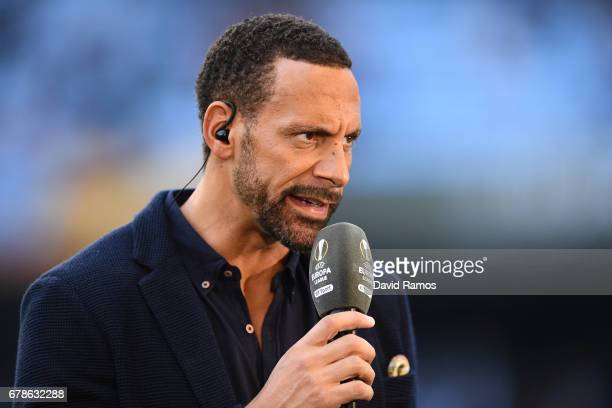 ExMan Utd player and pundit Rio Ferdinand looks on prior to the UEFA Europa League semi final first leg match between Celta Vigo and Manchester...